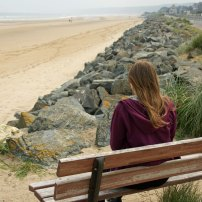 Meg contemplating Omaha Beach