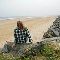 Ally contemplating Omaha Beach.